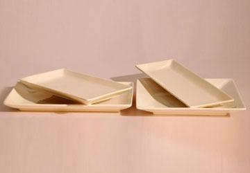 Alquiler Platos de porcelana cuadrados para eventos.